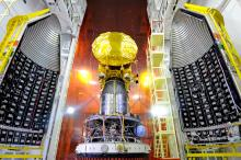 Mars Orbiter Mission Spacecraft attached to the 4th stage of PSLV-C25 and ready for heat shield closure
