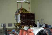Spacecraft being prepared for Vibration test at ISITE ISAC Bangalore