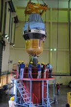 Hoisting of the third and fourth stages of PSLV-C25 during vehicle integration