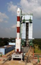 PSLV-C25 undergoing launch rehearsal with the Moible Service Tower (MST) retracted