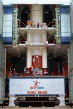 Integration of strap-ons to the PSLV-C35 core stage at Mobile Service Tower