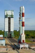 Fully integrated PSLV-C35 seen with Mobile Service Tower withdrawn to parking end