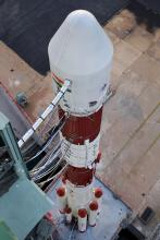 View of PSLV-C35 from the top of Mobile Service Tower