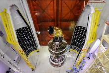 SCATSAT-1 spacecraft integrated with PSLV-C35 with two halves of the heat shield seen