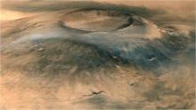 Spectacular 3D view of Arsia Mons, a huge volcano on Mars