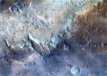 Eos Chaos area, part of the gigantic Valles Marineris Canyon of Mars