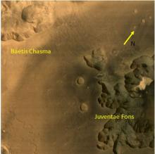 Juventae Fons and Baetis Chasma - Terrains on planet Mars