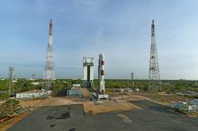 Panaromic view of fully integrated PSLV-C38 seen with Mobile Service Tower