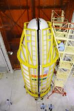 PSLV-C38 heat shield is being closed with all 31 satellites