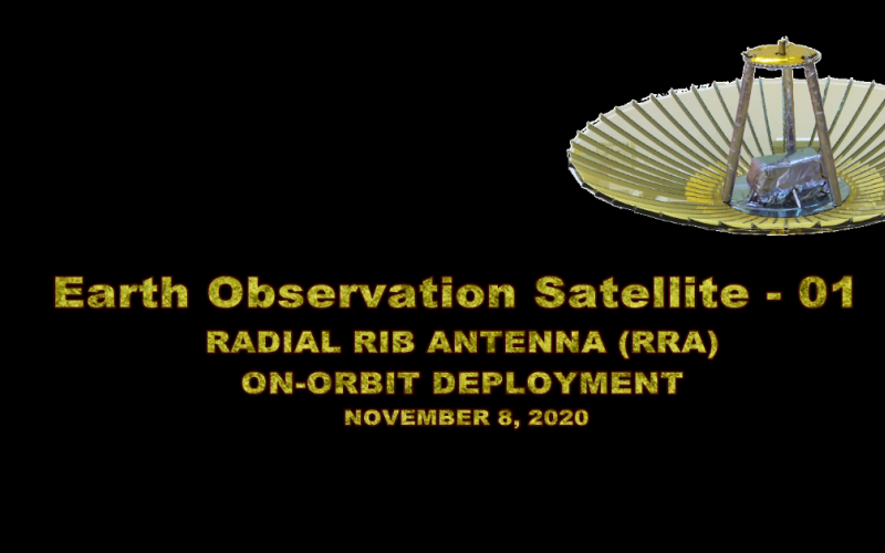 Radial Rib Antena deployment of Earth Observation Satellite (EOS-01) as observed by onboard cameras