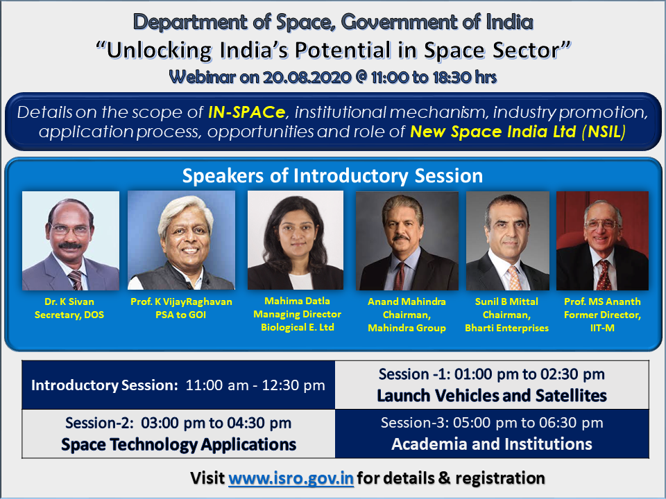 WEBINAR - Unlocking of India's Potential in Space  Sector - August 20, 2020